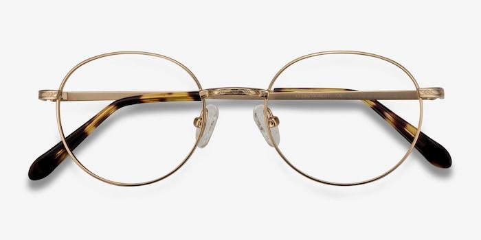Ledger Golden Metal Eyeglass Frames from EyeBuyDirect, Closed View