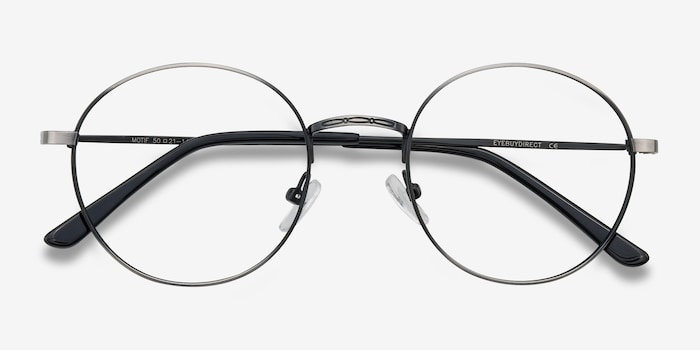 Motif Gunmetal Metal Eyeglass Frames from EyeBuyDirect, Closed View