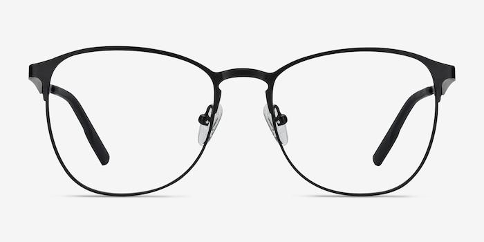 Ember Matte Black Metal Eyeglass Frames from EyeBuyDirect, Front View