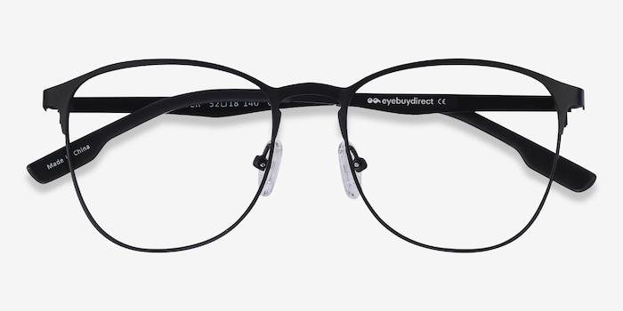 Ember Matte Black Metal Eyeglass Frames from EyeBuyDirect, Closed View