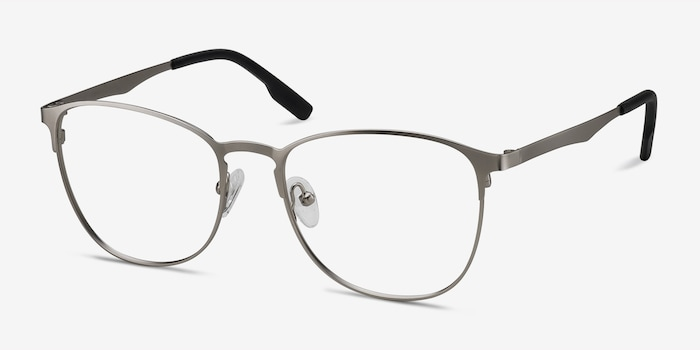 Ember Silver Metal Eyeglass Frames from EyeBuyDirect, Angle View