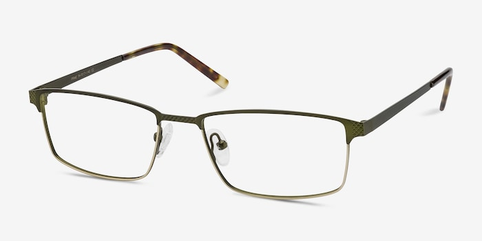 Prime Green Bronze Metal Eyeglass Frames from EyeBuyDirect, Angle View