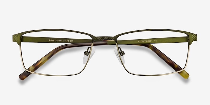 Prime Green Bronze Metal Eyeglass Frames from EyeBuyDirect, Closed View