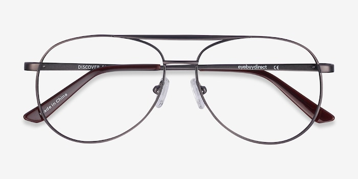 Discover Gunmetal Metal Eyeglass Frames from EyeBuyDirect, Closed View