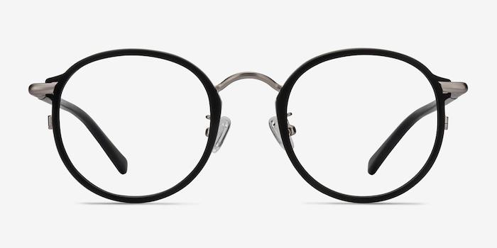 Carnival Matte Black Metal Eyeglass Frames from EyeBuyDirect, Front View