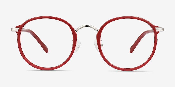 Carnival Matte Red Metal Eyeglass Frames from EyeBuyDirect, Front View