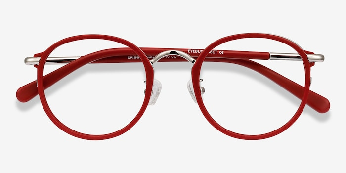 Carnival Matte Red Metal Eyeglass Frames from EyeBuyDirect, Closed View