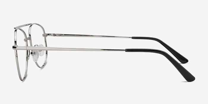 Tasker Silver Metal Eyeglass Frames from EyeBuyDirect, Side View