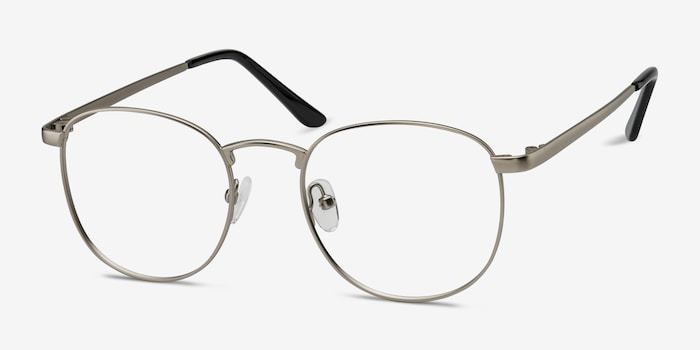 St Michel Silver Metal Eyeglass Frames from EyeBuyDirect, Angle View