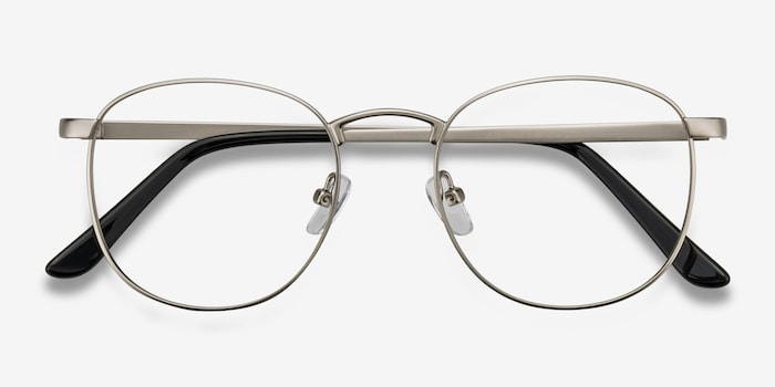 St Michel Silver Metal Eyeglass Frames from EyeBuyDirect, Closed View