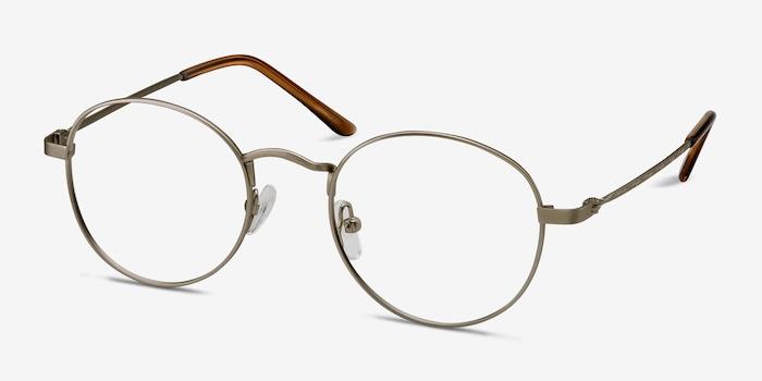 Cupertino Silver Metal Eyeglass Frames from EyeBuyDirect, Angle View
