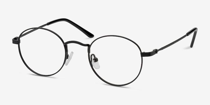 Cupertino Noir Métal Montures de Lunettes d'EyeBuyDirect, Vue d'Angle