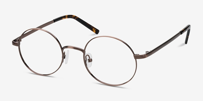 Socrates Brown Tortoise Metal Eyeglass Frames from EyeBuyDirect, Angle View