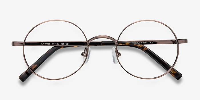Socrates Brown Tortoise Metal Eyeglass Frames from EyeBuyDirect, Closed View
