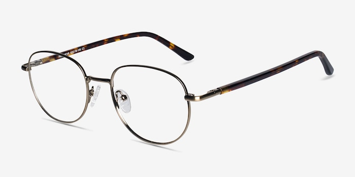 Pensieve Bronze Metal Eyeglass Frames from EyeBuyDirect, Angle View