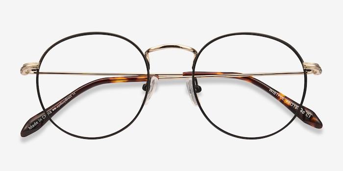 Wistful Black Metal Eyeglass Frames from EyeBuyDirect, Closed View