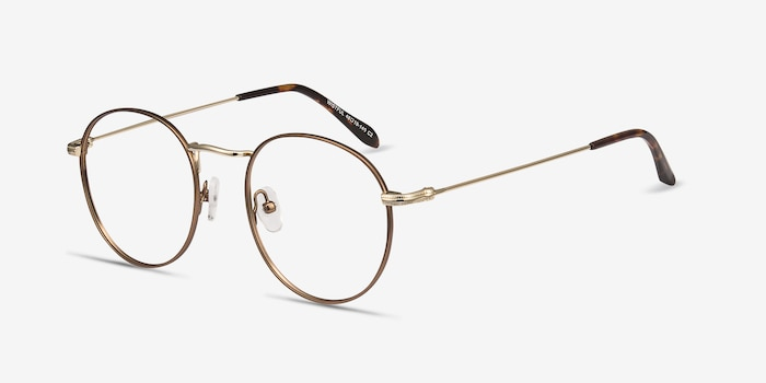 Wistful Coffee Metal Eyeglass Frames from EyeBuyDirect, Angle View