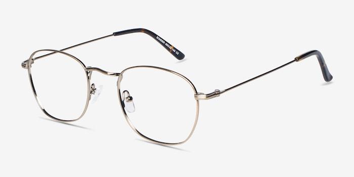 Sonder Bronze Metal Eyeglass Frames from EyeBuyDirect, Angle View