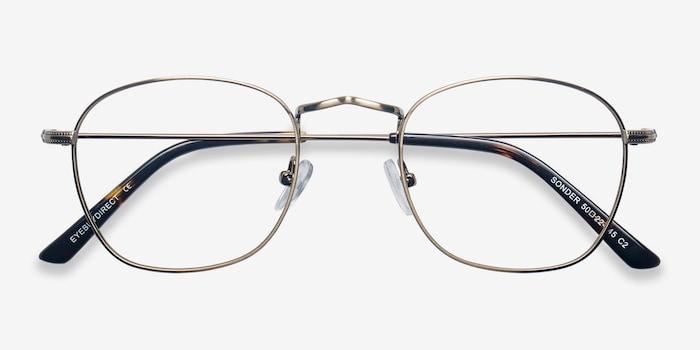 Sonder Bronze Metal Eyeglass Frames from EyeBuyDirect, Closed View