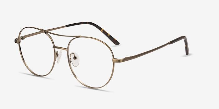 Cassini Brown Metal Eyeglass Frames from EyeBuyDirect, Angle View