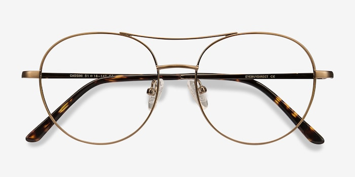 Cassini Brown Metal Eyeglass Frames from EyeBuyDirect, Closed View