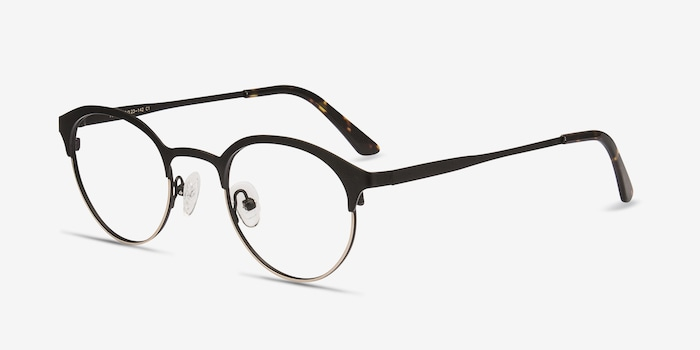 Fixate Black Golden Metal Eyeglass Frames from EyeBuyDirect, Angle View
