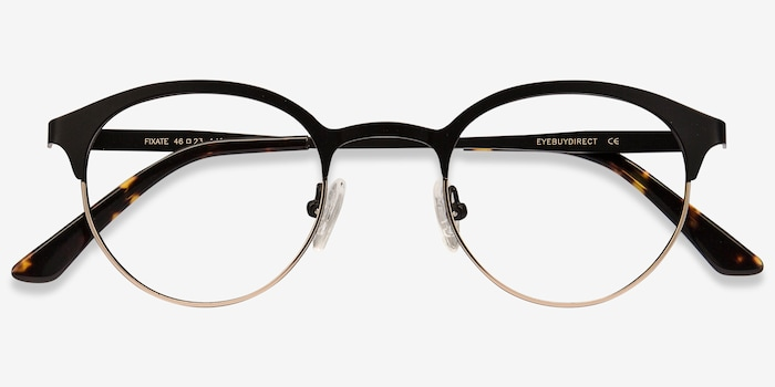 Fixate Black Golden Metal Eyeglass Frames from EyeBuyDirect, Closed View