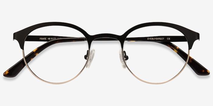 Fixate Black Golden Métal Montures de Lunettes d'EyeBuyDirect, Vue Rapprochée