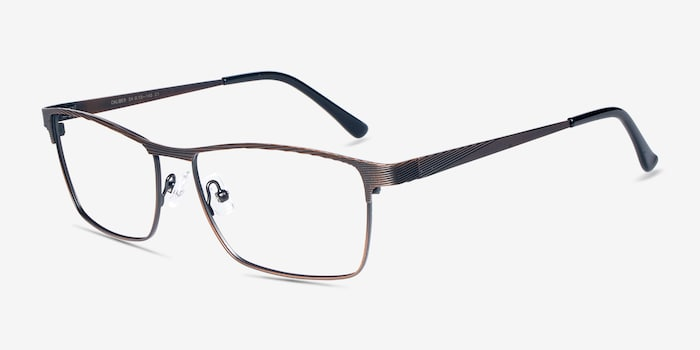 Caliber Brown Metal Eyeglass Frames from EyeBuyDirect, Angle View