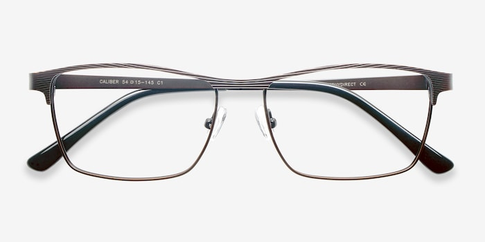 Caliber Brown Metal Eyeglass Frames from EyeBuyDirect, Closed View