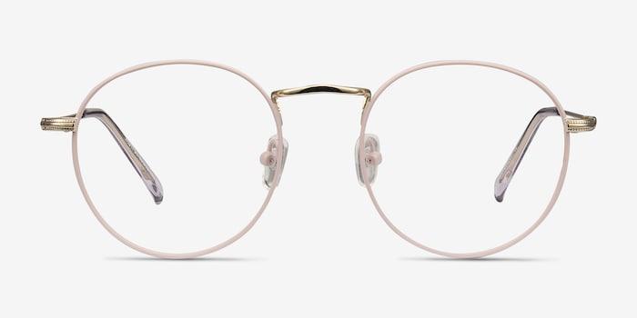 Wistful Matte Pink Metal Eyeglass Frames from EyeBuyDirect, Front View
