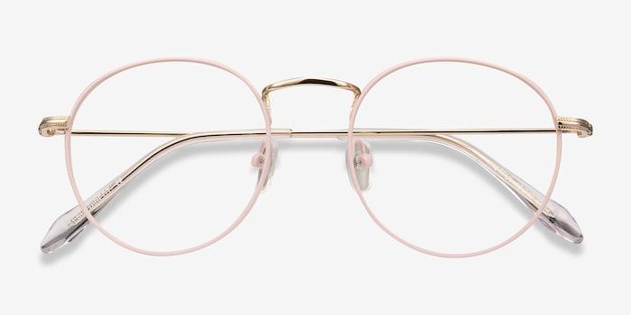 Wistful Matte Pink Metal Eyeglass Frames from EyeBuyDirect, Closed View