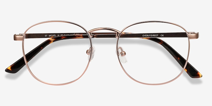 St Michel Rose Gold Metal Eyeglass Frames from EyeBuyDirect, Closed View