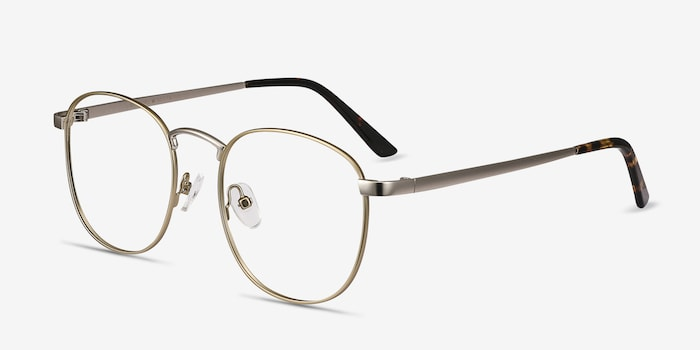 St Michel Starlight Yellow Metal Eyeglass Frames from EyeBuyDirect, Angle View