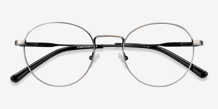 Memento Gunmetal Metal Eyeglass Frames from EyeBuyDirect, Closed View