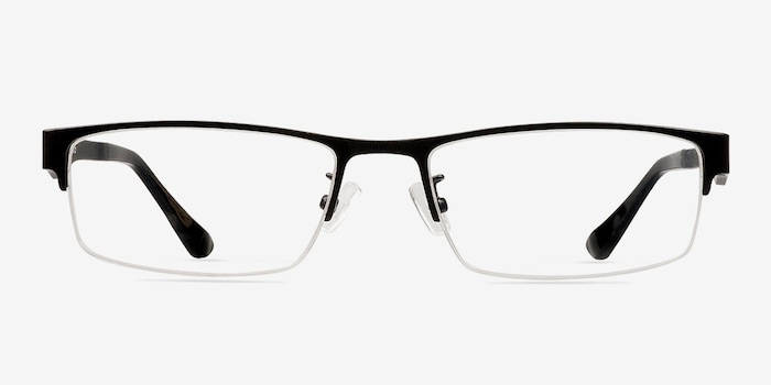 Beau Black Metal Eyeglass Frames from EyeBuyDirect, Front View