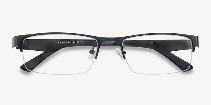 Beau Black Metal Eyeglass Frames from EyeBuyDirect, Closed View