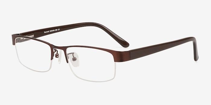 Beckett Coffee Metal Eyeglass Frames from EyeBuyDirect, Angle View
