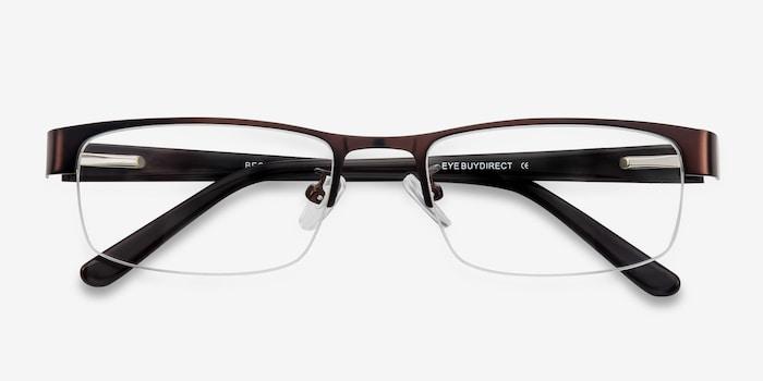 Beckett Coffee Metal Eyeglass Frames from EyeBuyDirect, Closed View