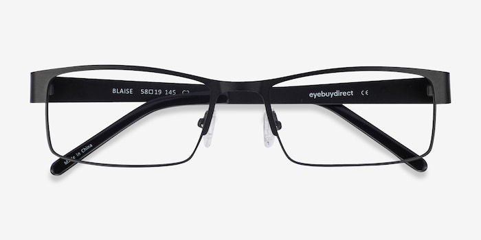 Blaise Black Metal Eyeglass Frames from EyeBuyDirect, Closed View