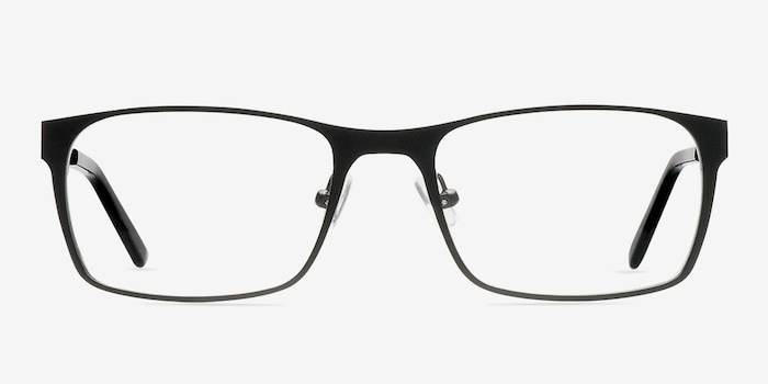 Dublin Matte Black Metal Eyeglass Frames from EyeBuyDirect, Front View