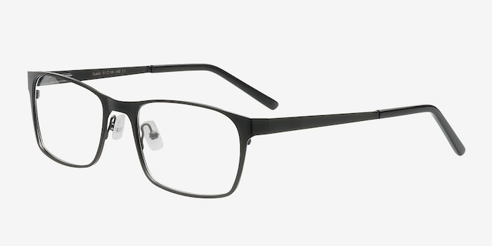 Dublin Matte Black Metal Eyeglass Frames from EyeBuyDirect, Angle View
