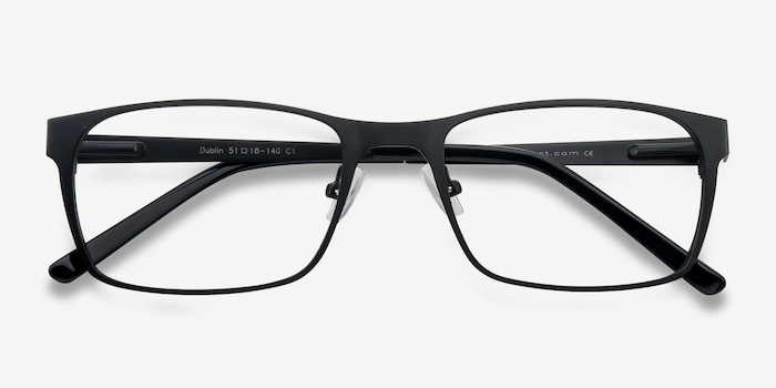 Dublin Matte Black Metal Eyeglass Frames from EyeBuyDirect, Closed View