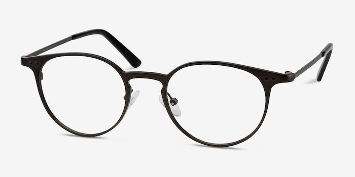Thin Line Coffee Metal Eyeglass Frames from EyeBuyDirect, Angle View