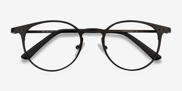 Thin Line Coffee Metal Eyeglass Frames from EyeBuyDirect, Closed View