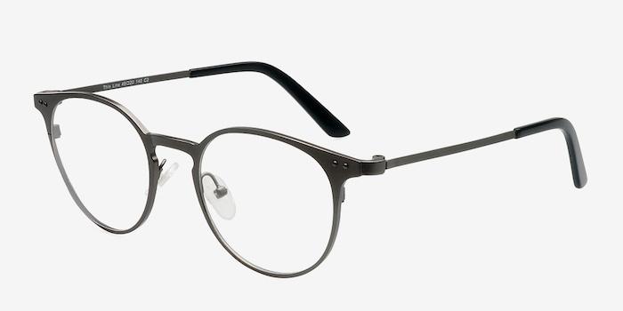 Thin Line Gunmetal Metal Eyeglass Frames from EyeBuyDirect, Angle View