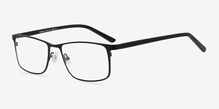 Clinton  Black  Metal Eyeglass Frames from EyeBuyDirect, Angle View