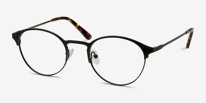 Little Time Black Metal Eyeglass Frames from EyeBuyDirect, Angle View
