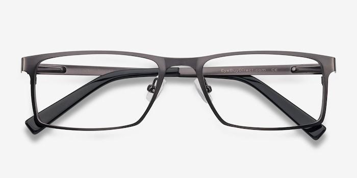 Cristian Gunmetal/Black Metal Eyeglass Frames from EyeBuyDirect, Closed View