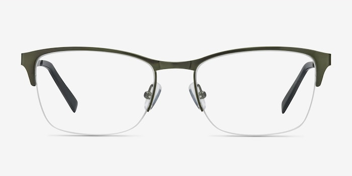 Time Green Metal Eyeglass Frames from EyeBuyDirect, Front View